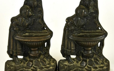 Antique Cast Iron Bookends Girl Drinking Fountain