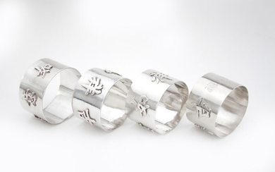 Antique Chinese set of 4 napkin rings - .900 silver - Wang Hing - China - Late 19th century