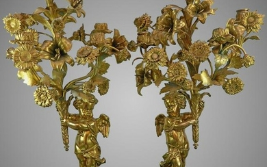 Antique Pair of Gold Gilded Bronze Candle Holders