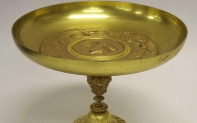 Antique gilt bronze comport 28cm diameter, 19cm high