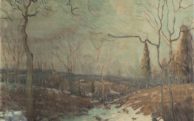 Arthur Clifton Goodwin (American, 1866-1929) Valley with Brook Edged in Snow