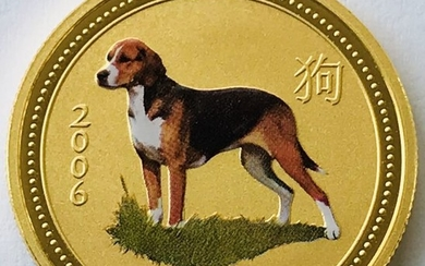 Australia - 50 Dollars 2006 - Year of the Dog - Colored - 1/2 oz - Gold