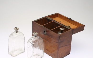 BOTTLE BOX, with bottles, empire, 19th century.