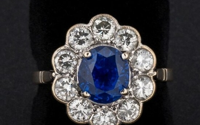 Ring Ceylon sapphire daisy 2.30 carats approx., without thermal modification,...