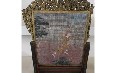 Burmese table screen, lift out panel, carved fretwork border...