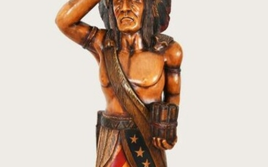 CARVED AND PAINTED WOOD CIGAR STORE INDIAN