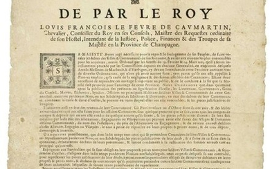 """CHAMPAGNE. 1667. DEBTS OF CITIES. Order of """"Louis François De CAUMARTIN, Intendant of Justice, Police, Finance & troops of his Majesty in the Province of CHAMPAGNE."""" Done at CHAALONS (Châlons 51) on February 19, 1667 """"His Majesty having deemed it..."""