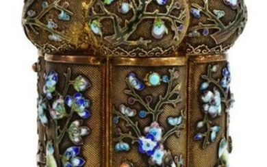 CHINESE EXPORT ENAMELED SILVER LOBED TEA CADDY