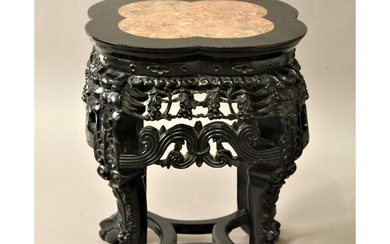 CHINESE HARDWOOD AND MARBLE MOUNTED URN STAND of quatrelobe ...