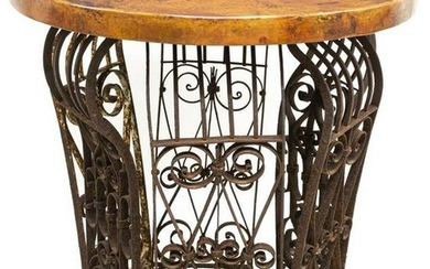 COPPER-TOP WROUGHT IRON CENTER TABLE