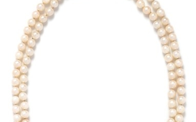 CULTURED PEARL, DIAMOND AND RUBY NECKLACE