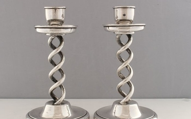Candlestick, A Pair of Silver Candlesticks, Lionel Smith & Co, Birmingham - Silver, .925 - 1924