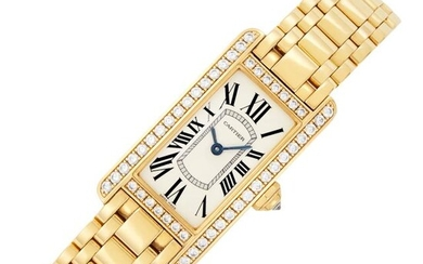 Cartier Gold and Diamond 'Tank Américaine' Wristwatch, Ref. 2482