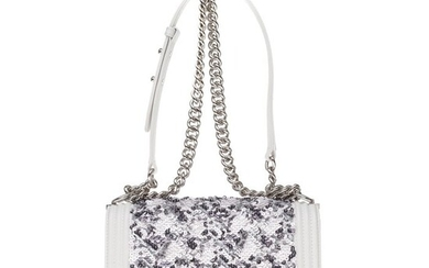 Chanel - Limited Edition - Boy old medium in white and grey SequinsHandbag