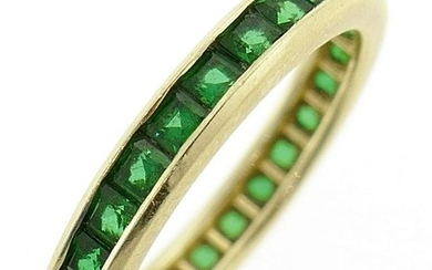 Chic 1.35 carat EMERALD YELLOW GOLD BAND RING Size