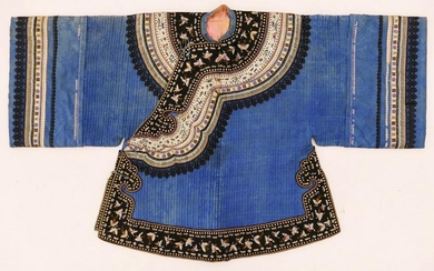 Chinese 19th Cent. Silk Embroidered Winter Robe