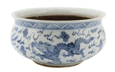 Chinese Blue & White Porcelain Dragon Bowl, Double
