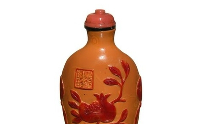 Chinese Peking Glass Snuff Bottle with Fruit, 19th