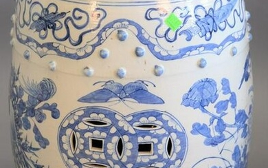 Chinese porcelain blue and white garden seat, ht. 19""