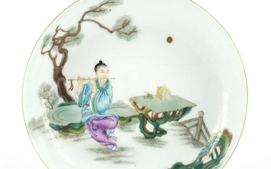 Chinese porcelain dish, hand painted in the famille