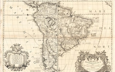 "Coronelli's Influential and Decorative Map of South America, ""[On 2 Sheets] America Meridionale"", Coronelli, Vincenzo Maria"