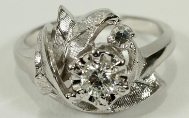 DIAMOND G-VS2, 14 KT. WHITE GOLD, VINTAGE RING