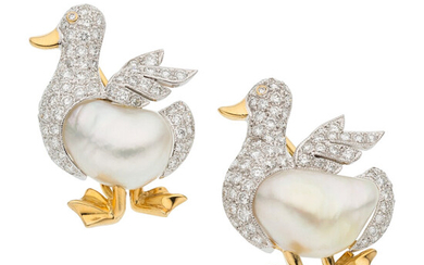 Diamond, Freshwater Cultured Pearl, Gold Brooches The duck brooches...