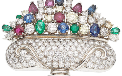 Diamond, Multi-Stone, White Gold Clip-Brooch The brooch features full...