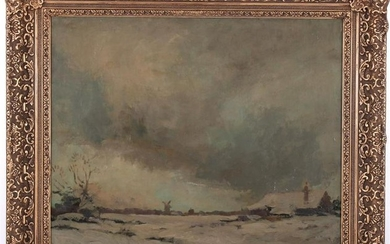 Dutch winter landscape with farm and windmill, canvas