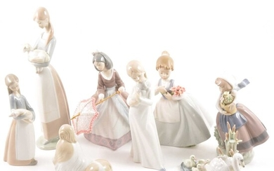 Eight Spanish porcelain figures, including Lladro and Nao