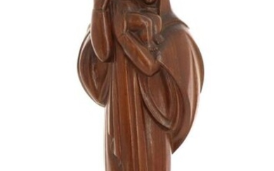 """Emile-Just BACHELET (1892-1981) - """"Vierge à l'Enfant"""", mahogany sculpture, on a square section base. Signed in hollow """"Bachelet"""" at the base. Circa 1940. H 45 cm"""