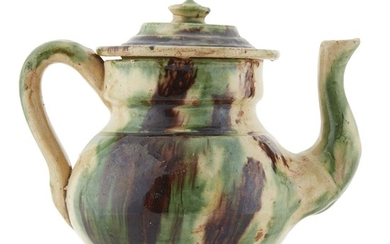 English glazed earthenware teapot 19th century H: 6 in....