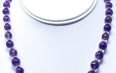 Estate 14kt Yellow Gold Amethyst Crystal Necklace