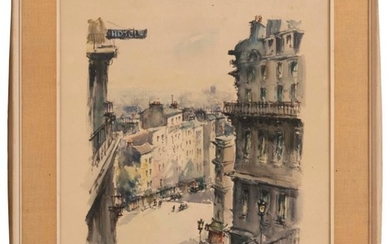 "FRENCH SCHOOL, First Half of the 20th Century, ""Paris, Montmartre (Rue Becquerel)""., Watercolor on paper, 20"" x 16"". Framed 26"" x 21..."