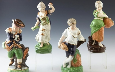 Four 19th c. Style Porcelain Figures, 20th c., with