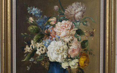 G.A. Pumfrey - Still Life of a Vase of Flowers, 20th century oil on canvas, signed, 33.5cm x 26cm, w