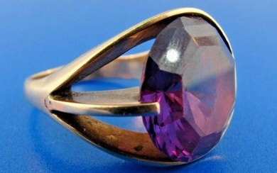 GROOVY 14k Rose Gold & Amethyst Ring Circa 1970s