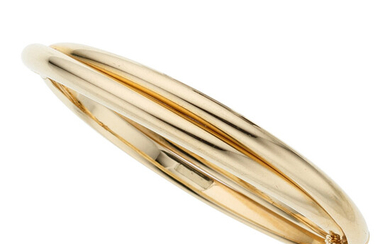 Gold Bracelet The 14k gold twisted hinged bangle weighs...