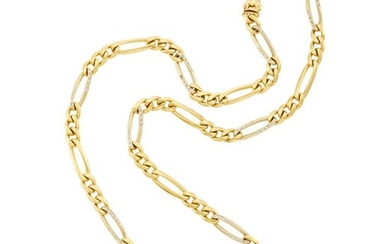 Gold and Diamond Figaro Link Chain Necklace, Chaumet, Paris