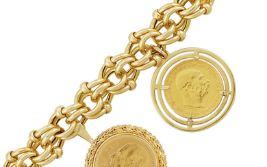 Gold and Gold Coin Charm Bracelet