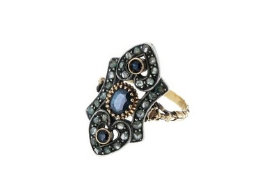 Gold and silver ring with diamonds and sapphires