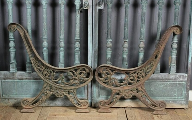 Good Pair of Ornate Cast Iron Bench Ends