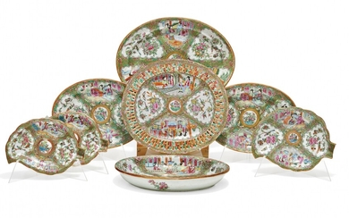 Group of eight Famille Rose serving dishes China, second half of 19th Century