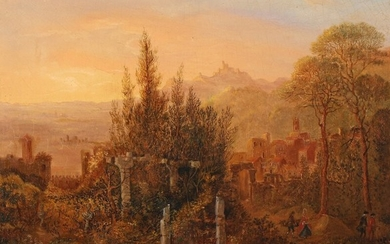 Gustav Friedrich Papperitz, manner of, 19th century: View from Albano near Rome. Unsigned. Oil on canvas. 42×48 cm.