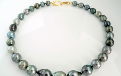HS Jewellery - Tahitian pearls, Silvery, Multi-Color 9.5 mm to 12.22 mm - Necklace, 925 Sterling Silver