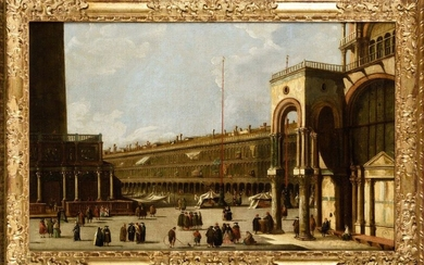 In the taste of Canaletto View of the Procuraties in Venice On its original canvas Height: 60 cm Width: 92 cm Old restorations, dents and accidents