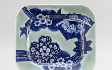 """JAPANESE CELADON PORCELAIN PLATE Rectangular, with cobalt blue fan and flower decoration. Two-character seal mark on base. 10"""" x 11.5""""."""