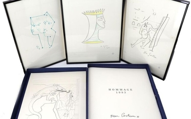 """JEAN COCTEAU - """"HOMMAGE 1993"""". Artcurial diffusion. 1 vol. in-folio. Blue canvas box-object editor with window. Complete of the 4 lithographs of Jean Cocteau printed by Art Estampe Machet-Cosson, on Arches vellum, printed at 500 numbered copies (3 are..."""