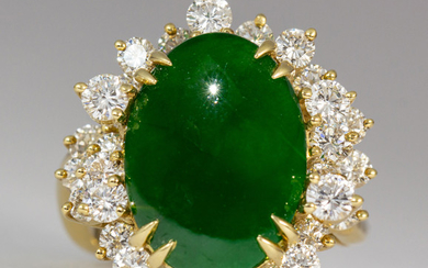 Jadeite, diamond, 18k yellow gold ring