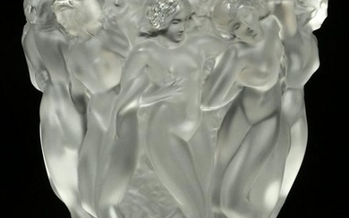 LALIQUE CRYSTAL MOLDED AND FROSTED BACCHANTES VASE